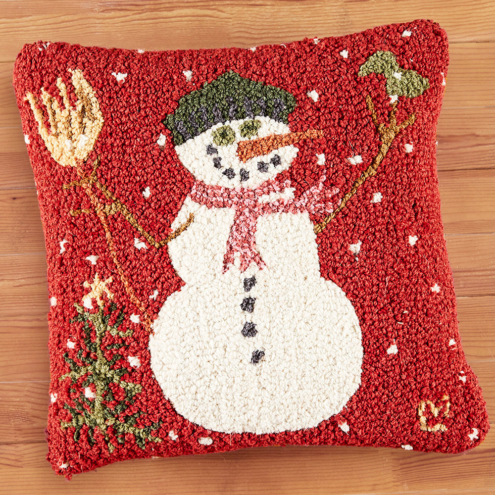 "Chandler 4 Corners 18"" Hooked Pillow, Carrot Nose Snowman"