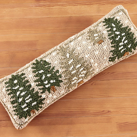"Chandler 4 Corners 8"" x 24"" Hooked Pillow, Frosted Trees"