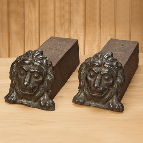 Antique Cast Iron Lion Head Andirons