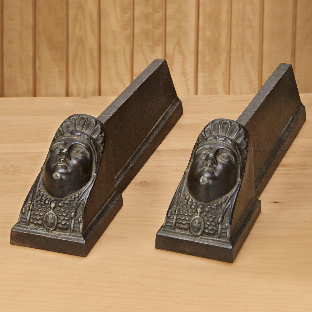 Antique Cast Iron Egyptian Head Andirons