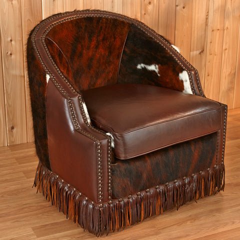 Cowhide Swivel Chair
