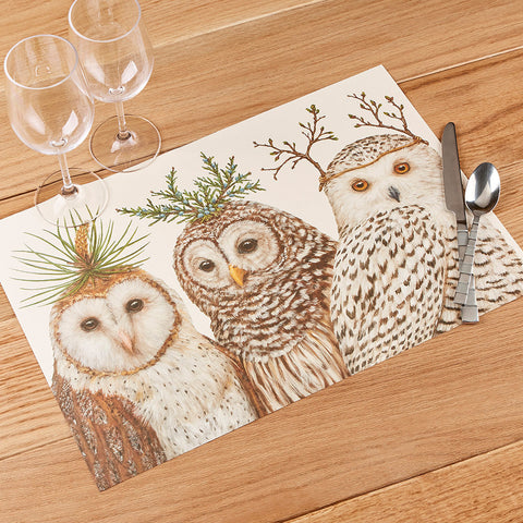 Hester & Cook Paper Placemats, Winter Owls