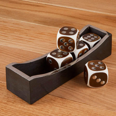 Bone and Wood Dice Set