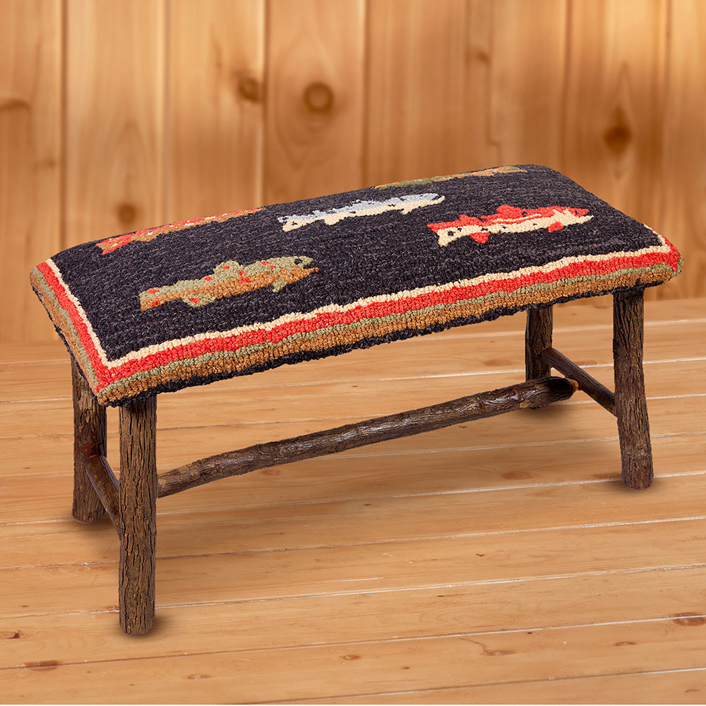 "Chandler 4 Corners 32"" Hickory Bench, River Fish"