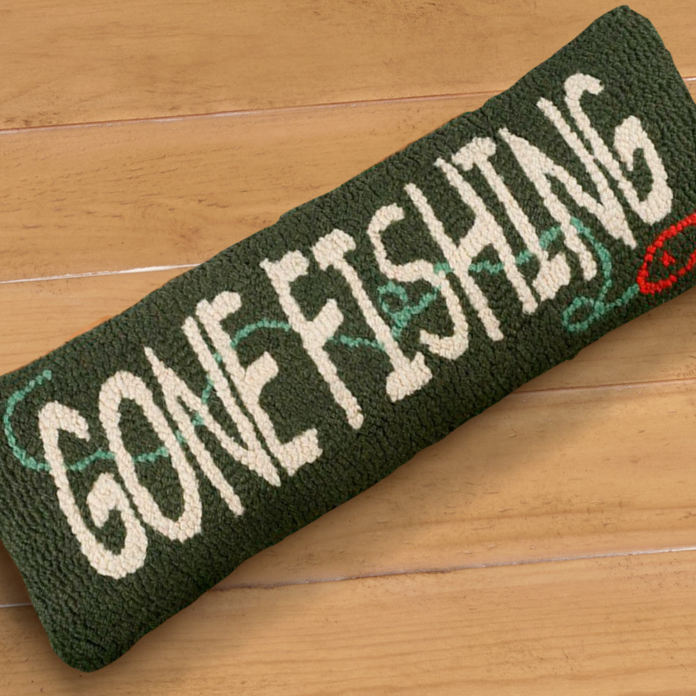 "Chandler 4 Corners 8"" x 24"" Hooked Pillow, Gone Fishing"