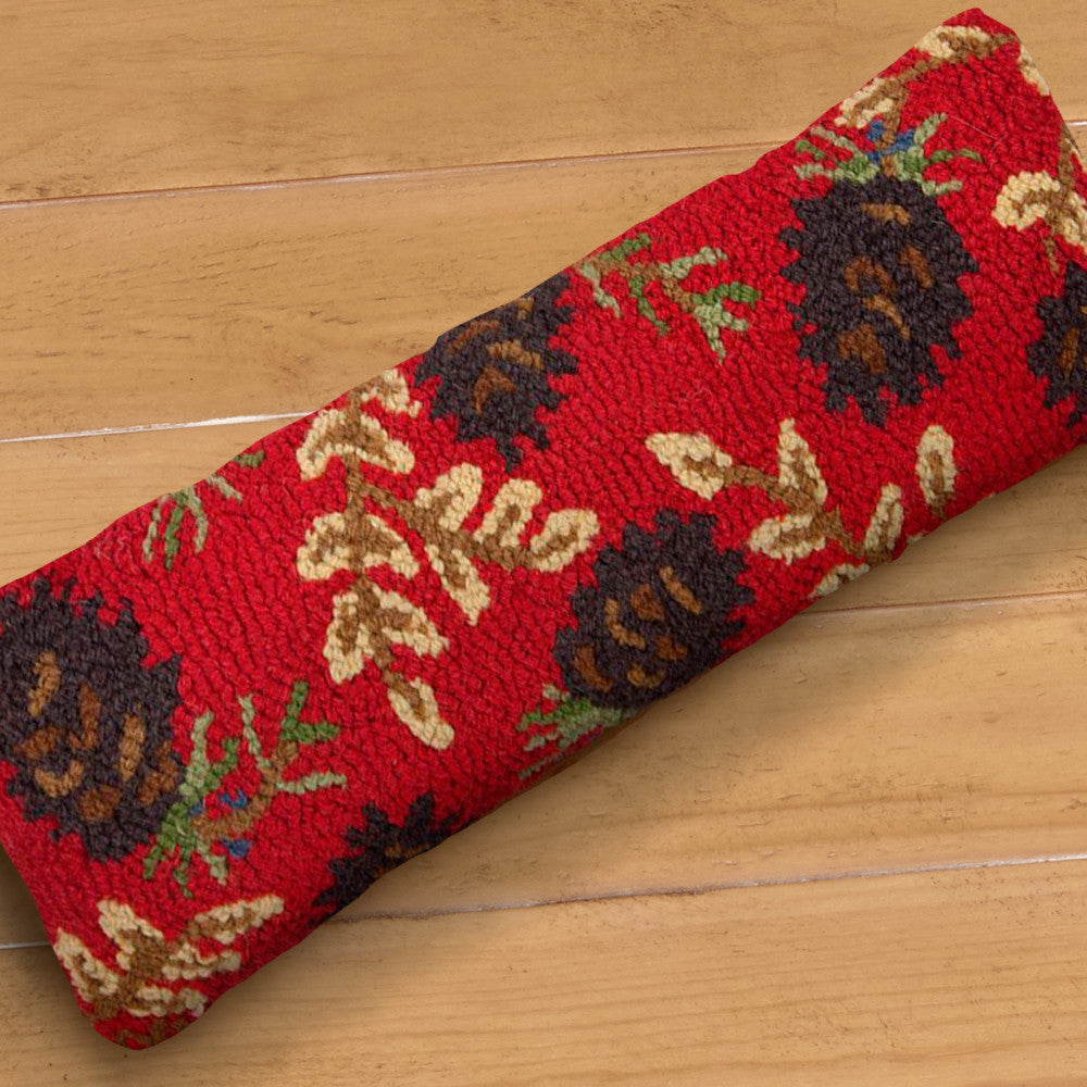 "Chandler 4 Corners 8"" x 24"" Hooked Pillow, Ruby Pinecones"