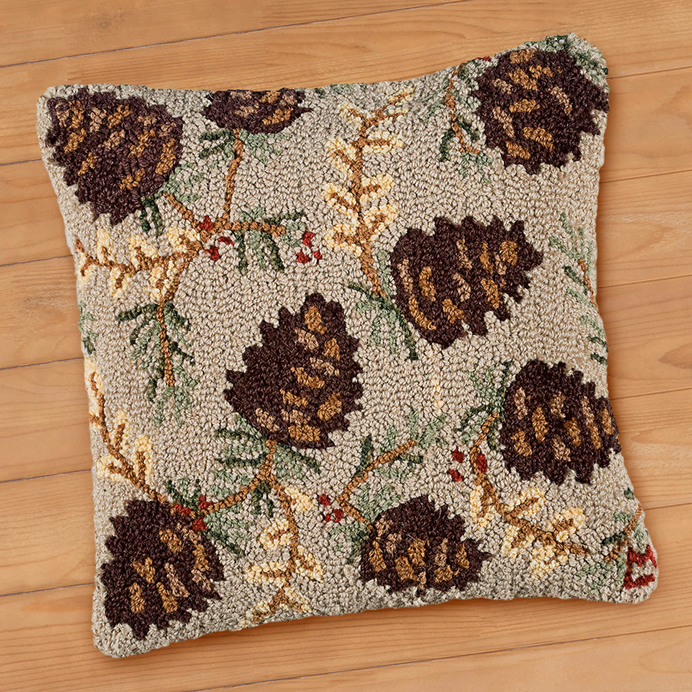 "Chandler 4 Corners 18"" Hooked Pillow, Northwoods Cones"