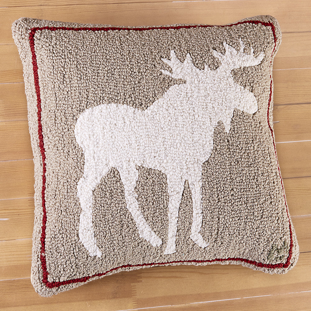 "Chandler 4 Corners 18"" Hooked Pillow, Khaki Moose"