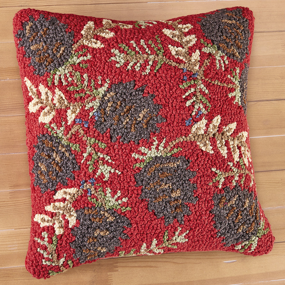 "Chandler 4 Corners 18"" Hooked Pillow, Ruby Pinecones"