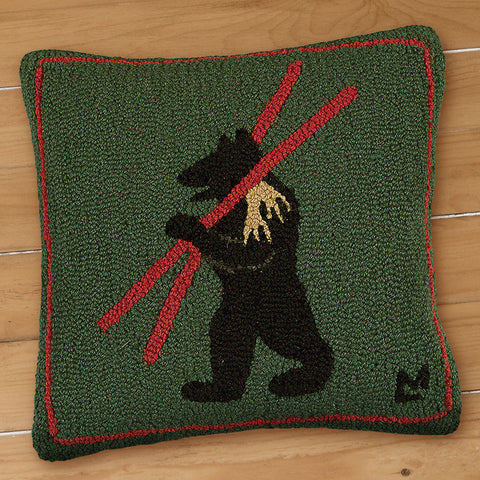 "Chandler 4 Corners 18"" Hooked Pillow, Alpine Bear"