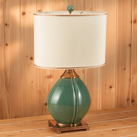 Green Crackle Table Lamp