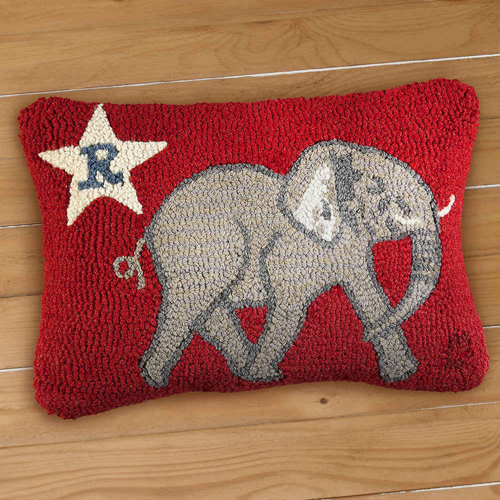 "Chandler 4 Corners 14"" x 20"" Hooked Pillow, Republican Elephant"