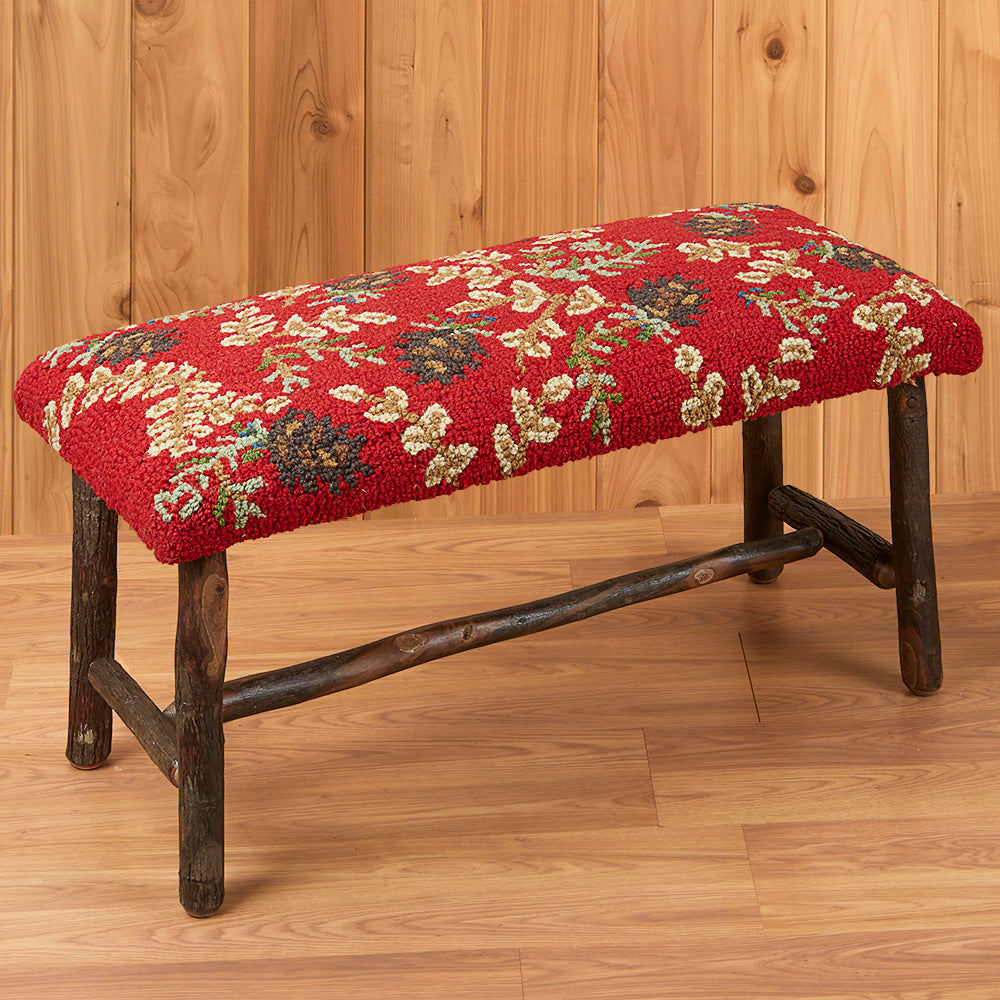 "Chandler 4 Corners 32"" Hickory Bench, Ruby Pinecones"