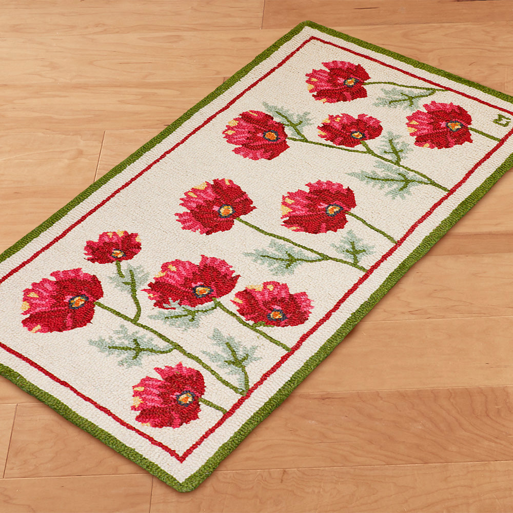 Chandler 4 Corners 2' x 4' Hooked Rug, Poppy Profusion