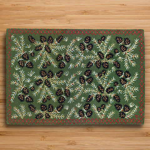 Chandler 4 Corners 4' x 6' Hooked Rug, Diamond Pinecone