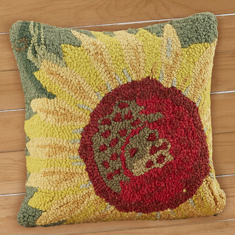 "Chandler 4 Corners 18"" Hooked Pillow, Single Sunflower"