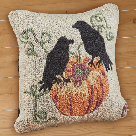 "Chandler 4 Corners 18"" Hooked Pillow, Ravens and Pumpkins"