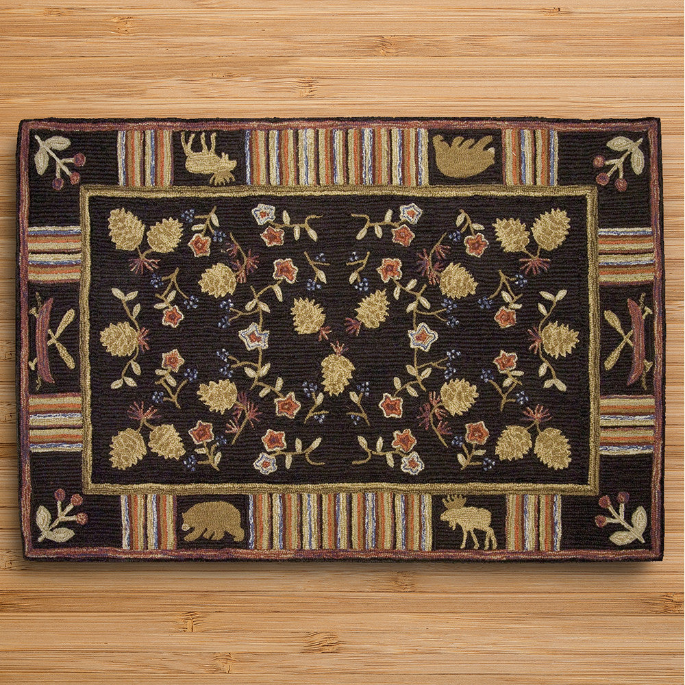 Chandler 4 Corners 4' x 6' Hooked Rug, Night Moose