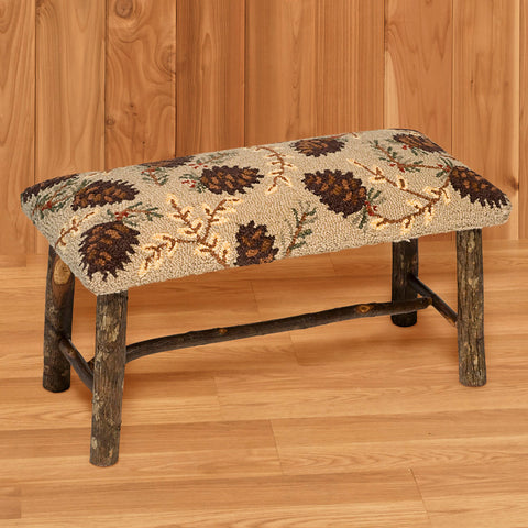 "Chandler 4 Corners 32"" Hickory Bench with Hooked Wool Seat, Northwoods Cones"