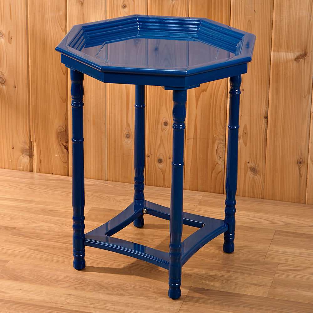 Blue Octagonal End Table