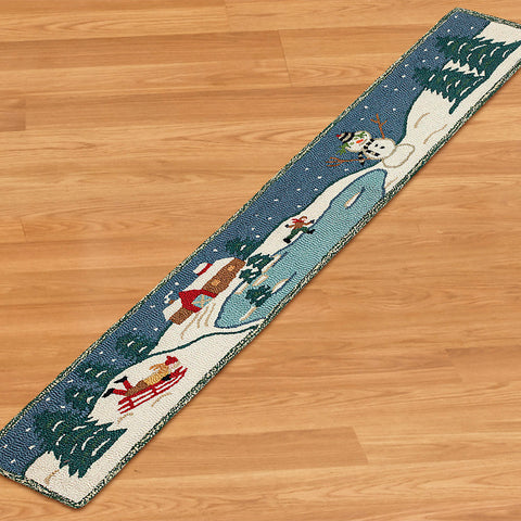 Chandler 4 Corners 1' x 6' Hooked Hearth Rug, Winter Fun