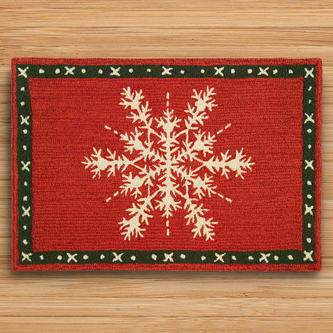 Chandler 4 Corners 2' x 3' Hooked Rug, Snow Crystal Flake