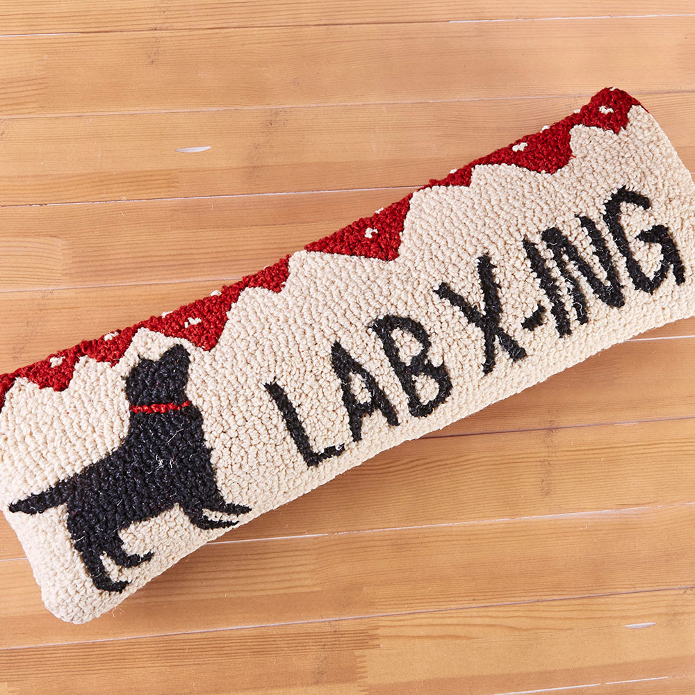 "Chandler 4 Corners 8"" x 24"" Hooked Pillow, Lab Crossing"