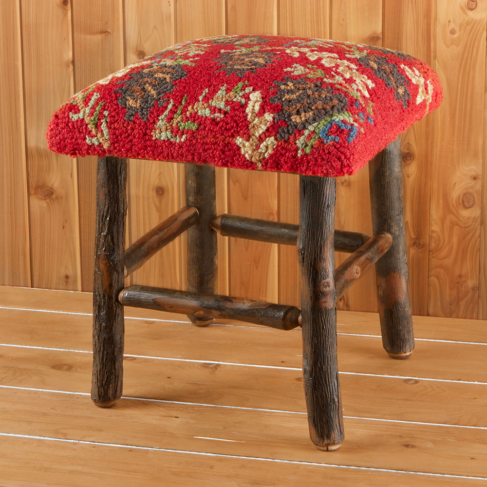 "Chandler 4 Corners 17"" Hickory Stool, Ruby Pinecones"
