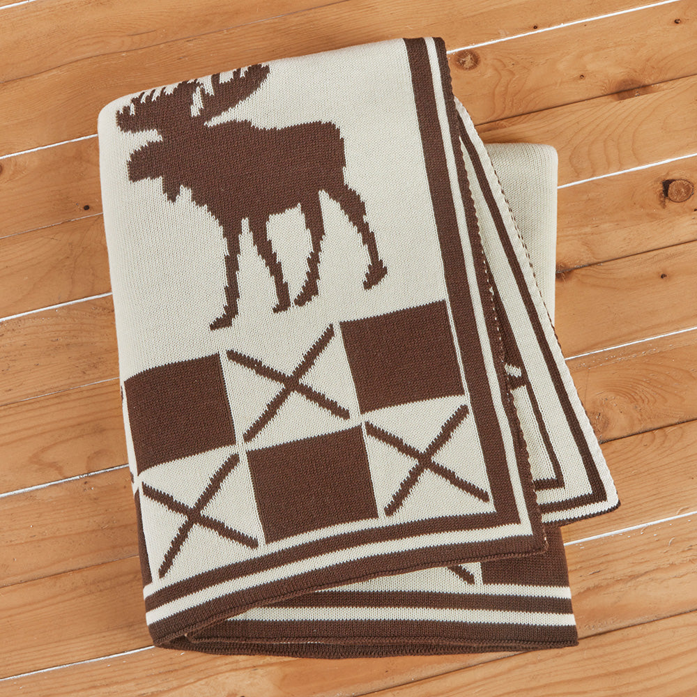 "Chandler 4 Corners 50"" x 60"" Cotton Knit Throw, Moose"
