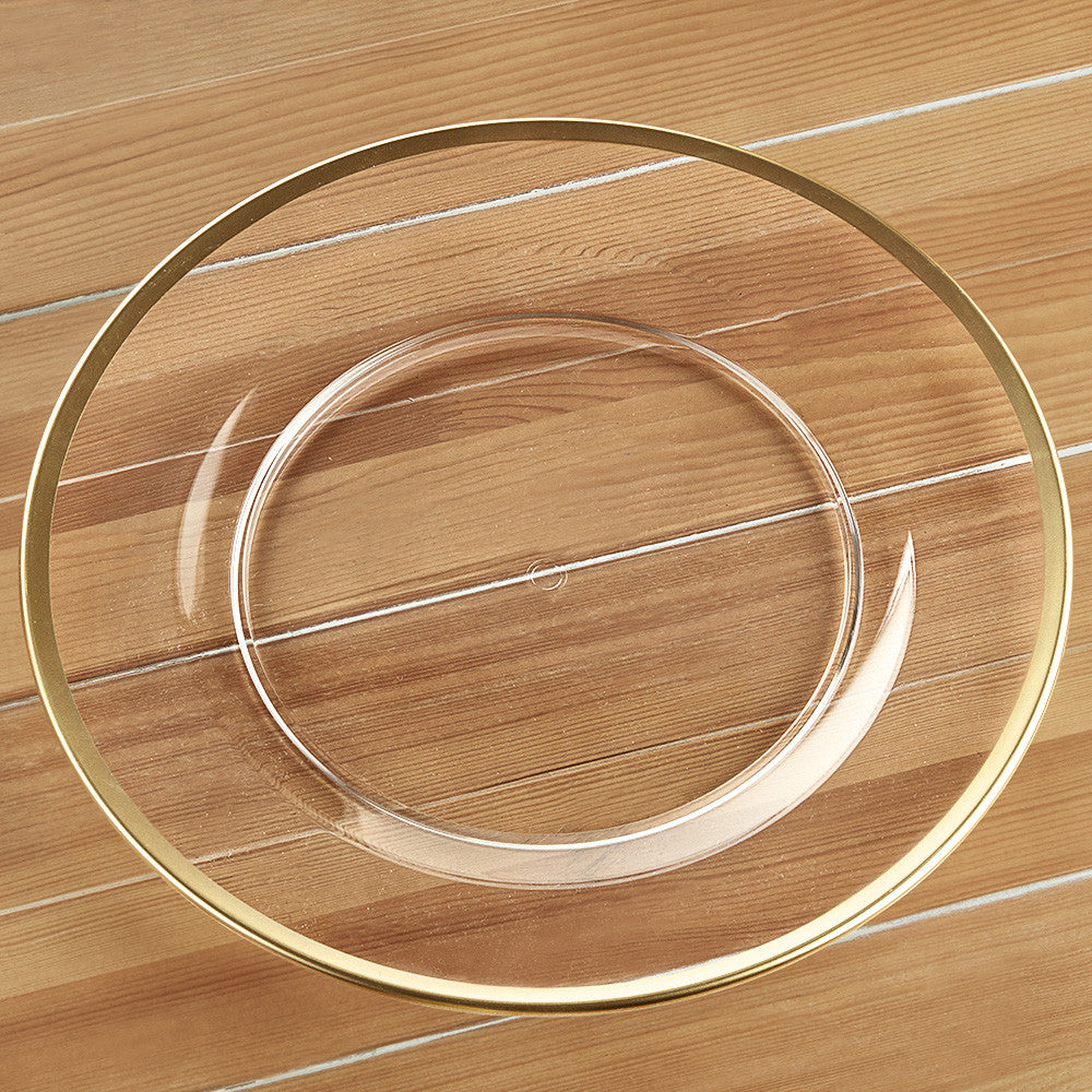 Clear Acrylic Charger with Gold Rim