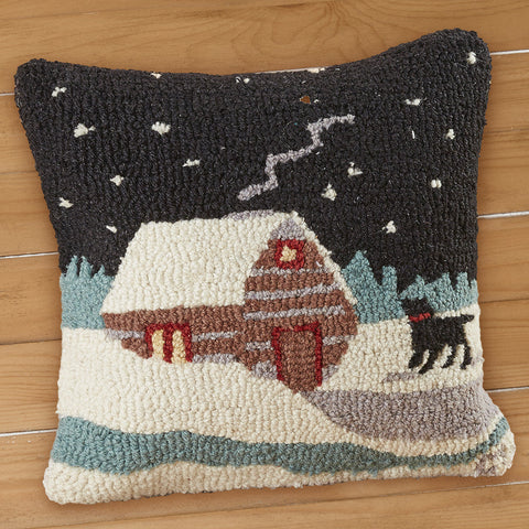 "Chandler 4 Corners 18"" Hooked Pillow, Winter Stream Cabin"