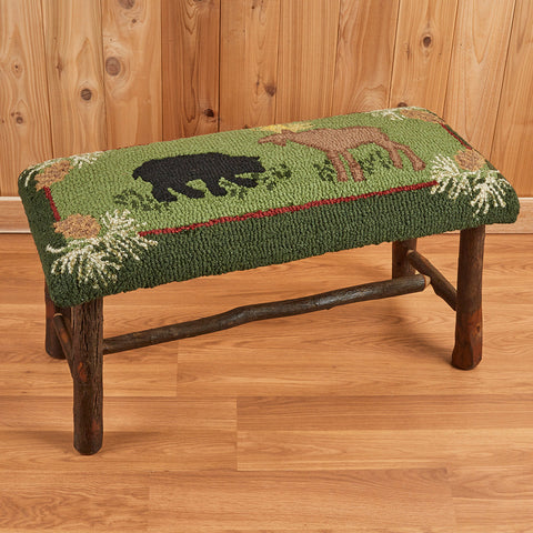 "Chandler 4 Corners 32"" Hickory Bench, Bear & Moose"