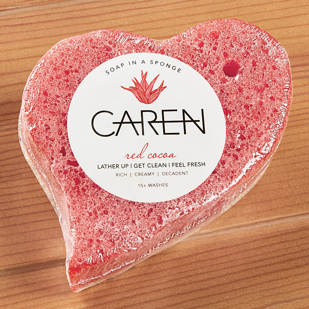 Caren Original Red Cocoa Heart Shaped Shower Soap Sponge