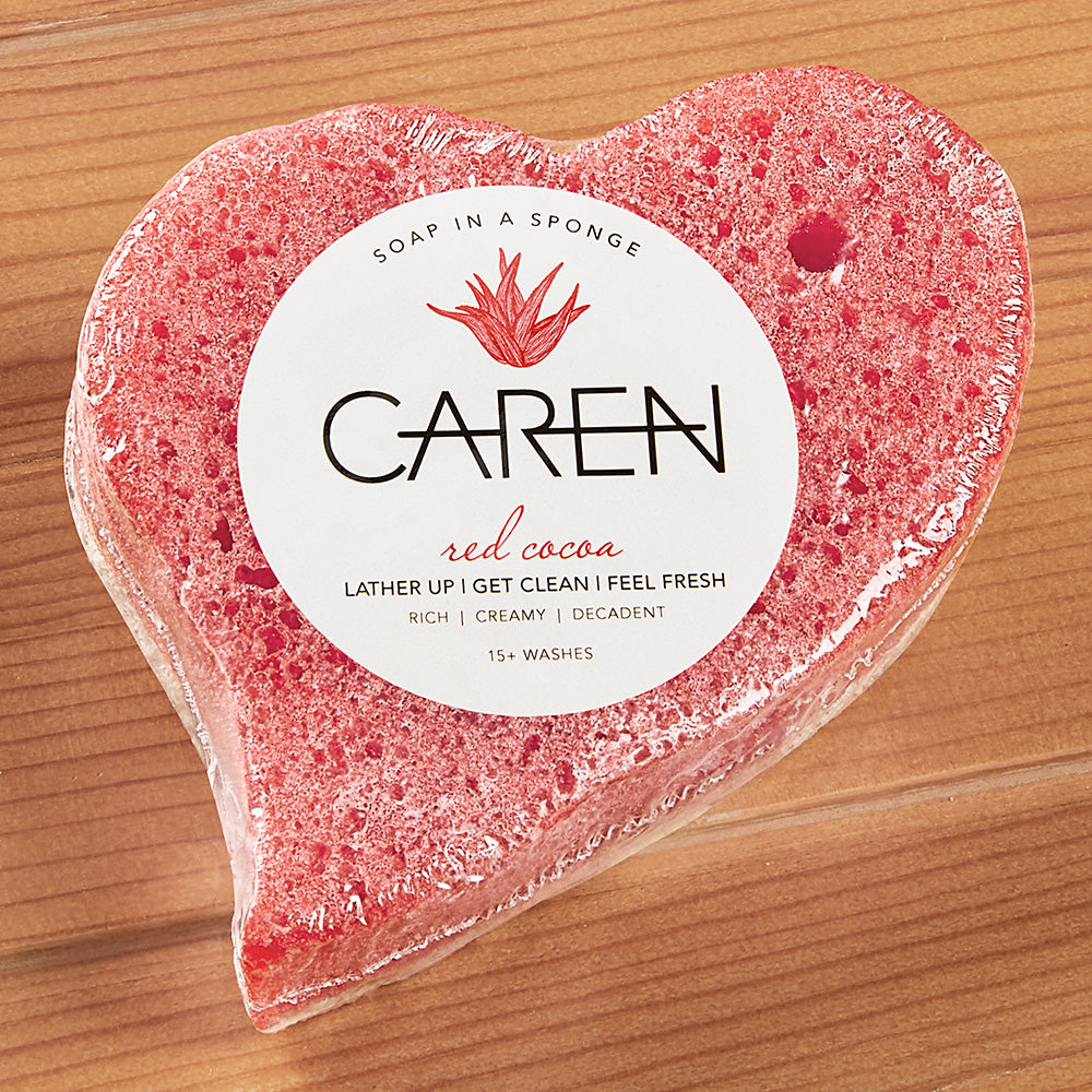 Caren Original Shower Soap Heart Sponge, Red Cocoa - 2.75 oz