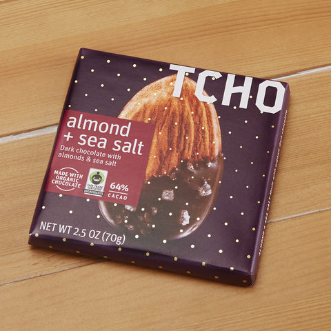 "TCHO Dark Chocolate ""Almond + Sea Salt"" Bar, 2.5 ounces"