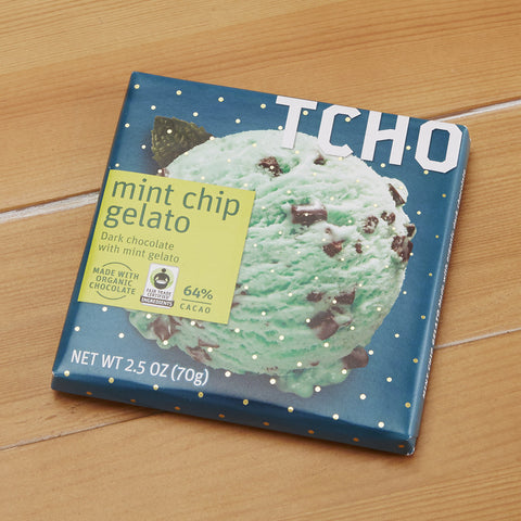 "TCHO Dark Chocolate ""Mint Chip Gelato"" Bar, 2.5 ounces"