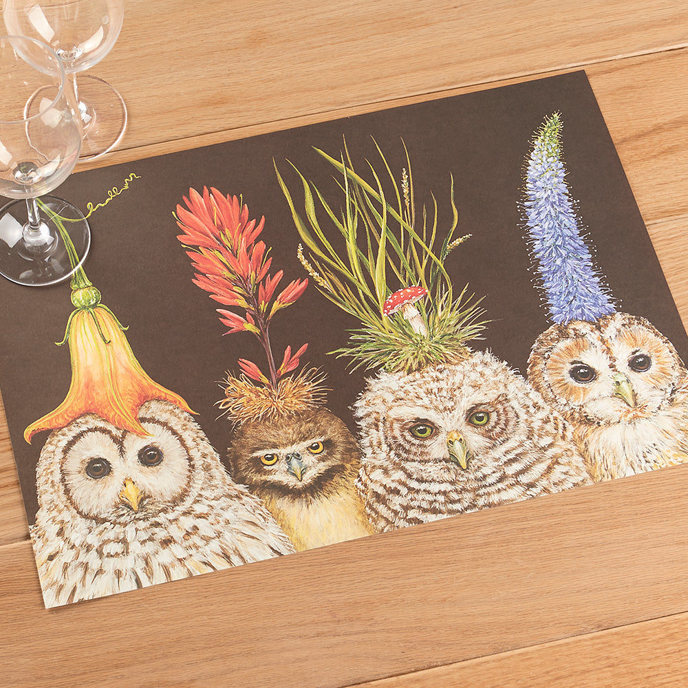 Hester & Cook Paper Placemats, Baby Owls