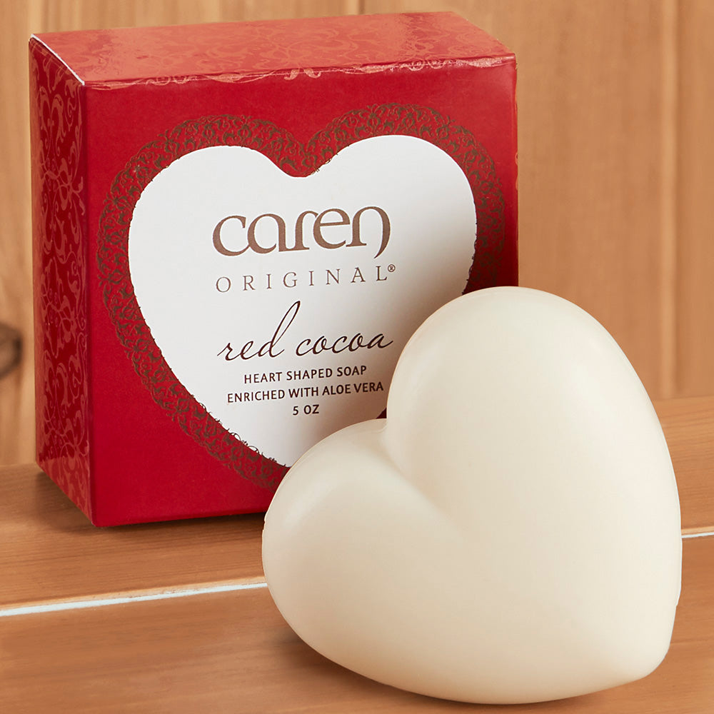 Caren Original Red Cocoa Heart Shaped Bar Soap