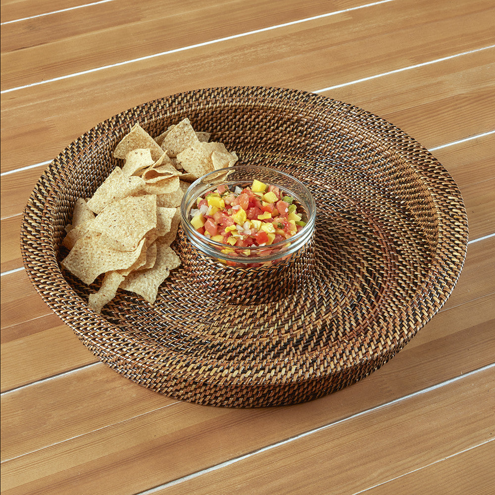 Calaisio Woven Chip & Dip Tray with Glass Insert