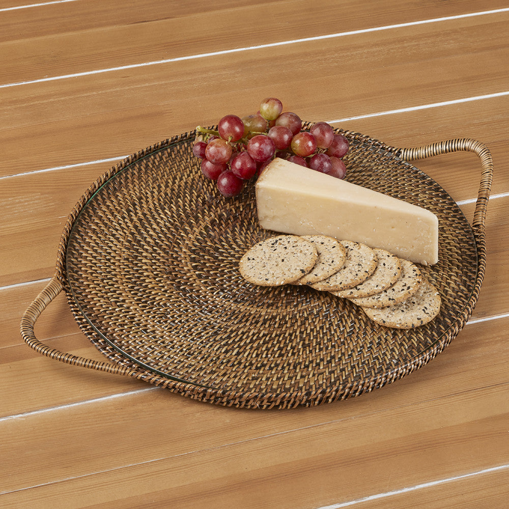 Woven Round Serving Tray with Glass Insert by Calaisio