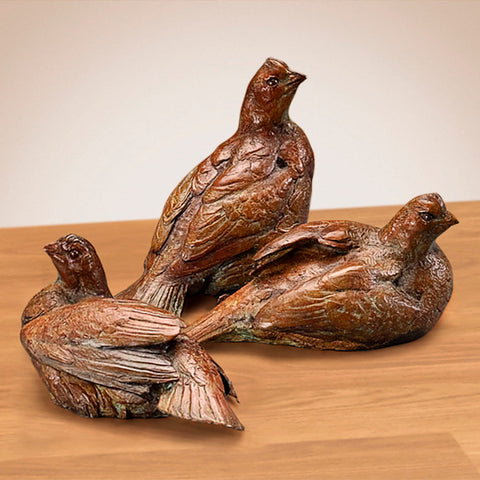 """Bobwhite Quail"" Set of 3 Bronze Sculptures by Walter Matia"
