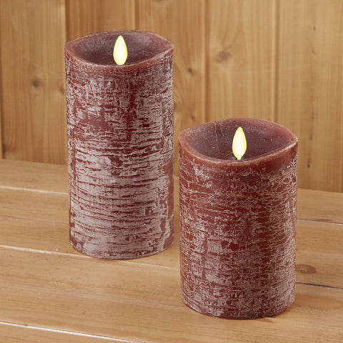 Luminara Flameless Rustic Pillar Candle, Brown