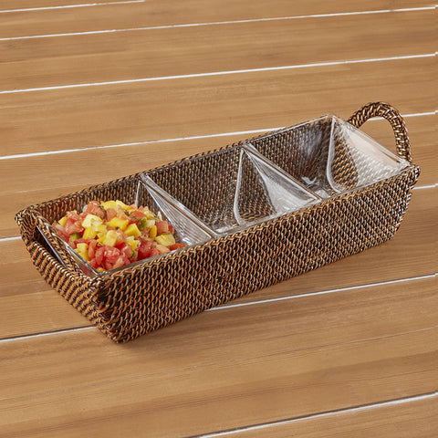 Calaisio Three Compartment Woven Serving Tray