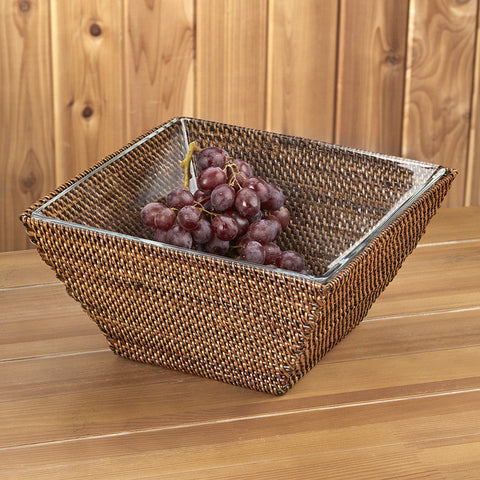 Calaisio Woven Basket with Square Glass Serving Bowl