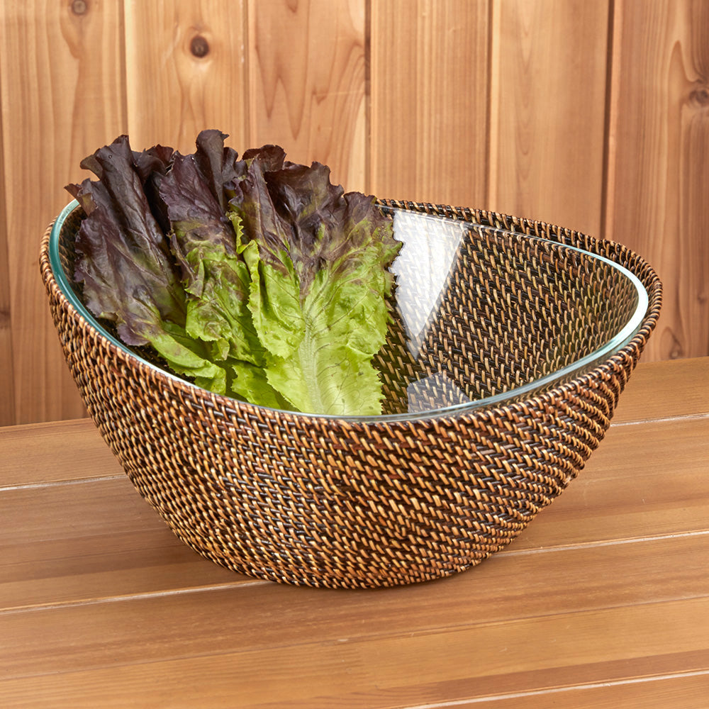 Calaisio Woven Basket with Glass Salad Bowl