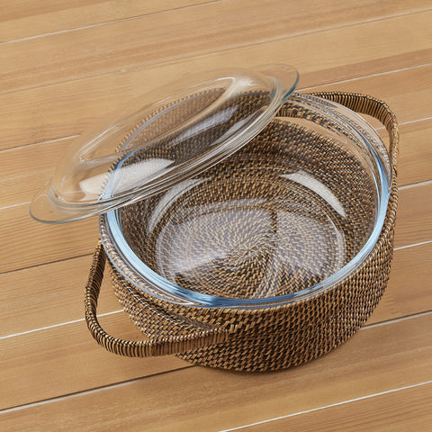 Calaisio Woven Carrier with 2 Quart Lidded Casserole Dish