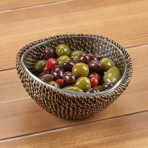 Calaisio Woven Basket with Glass Serving Bowl