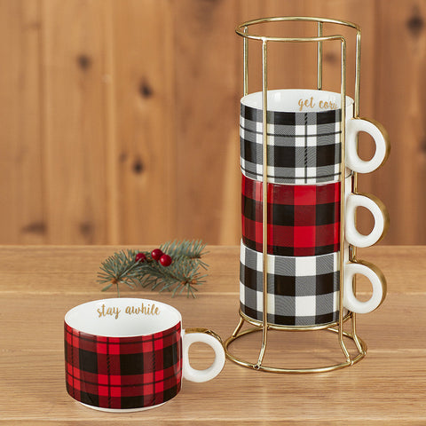 Buffalo Plaid Porcelain Mug Tower, 5 Piece Set