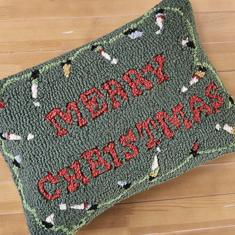 "Chandler 4 Corners 14"" x 20"" Hooked Pillow, Merry Christmas Lights"