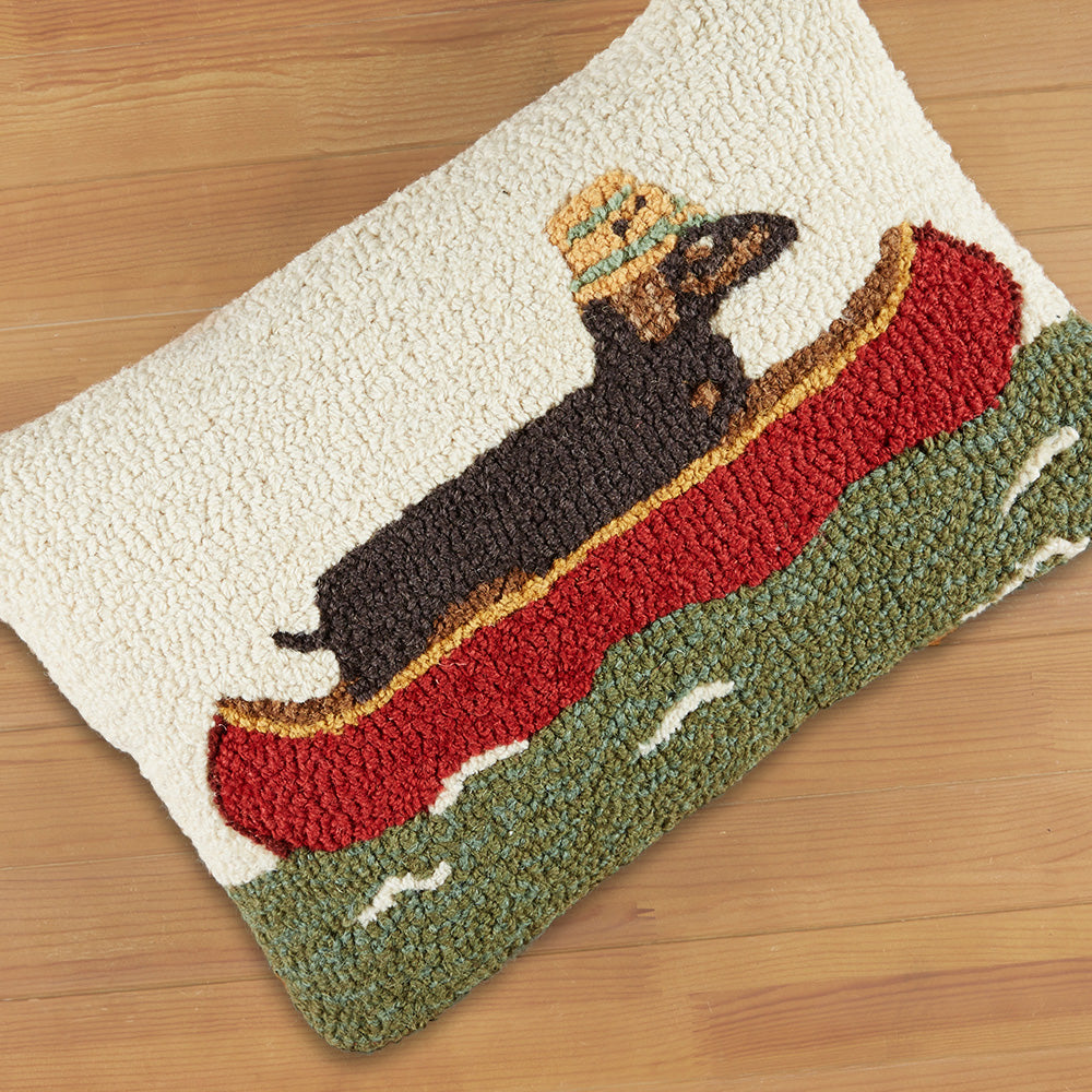 "Chandler 4 Corners 14"" x 20"" Hooked Pillow, Downstream Dachshund"